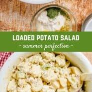 """土豆沙拉的两幅图像重叠文字,上面写着""""装土豆沙拉。"""""""