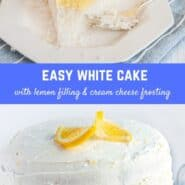 This stunningly beautiful white layer cake with lemon filling, topped with tangy lemon cream cheese frosting, is a show stopper. A special occasion dessert that is classic and delicious!