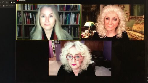 Image of Julia Cameron and Judy Collins, along with the host from Bay Area Book Festival on a zoom call.