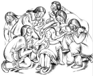 Illustration from Indian Captive by Lois Lenski