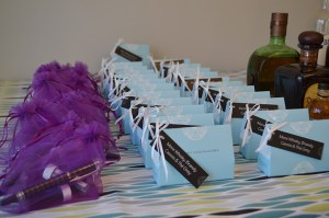 Our wedding favors set out for guests to take