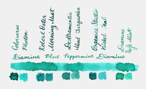 Comparative swatches for Inkvent Day 1 ink Blue Peppermint