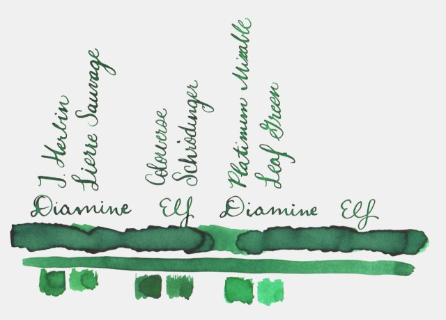 Comparative swatches for Inkvent Day 11 ink Elf