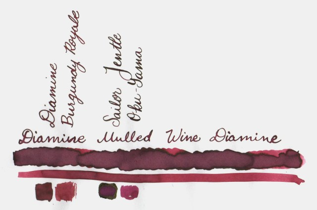 Comparative swatches for Inkvent Day 13 ink Mulled Wine