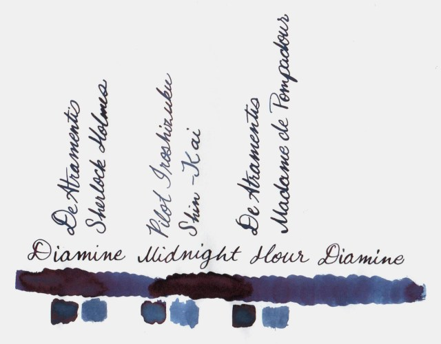 Comparative swatches for Inkvent Day 20 ink Midnight Hour