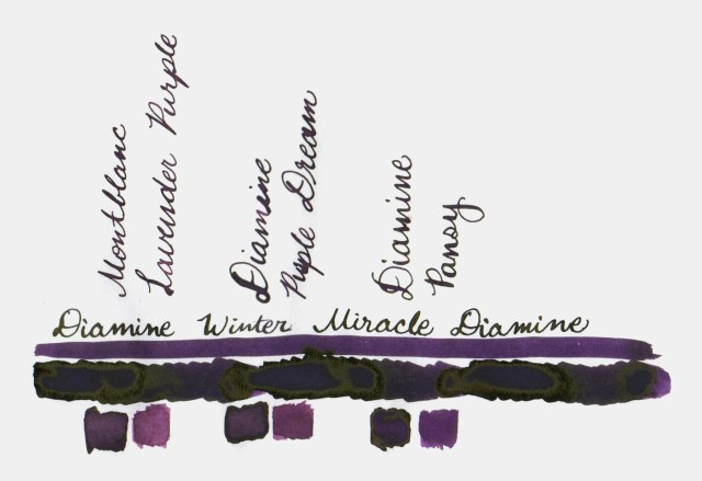 Comparative swatches for Inkvent Day 10 ink Winter Miracle