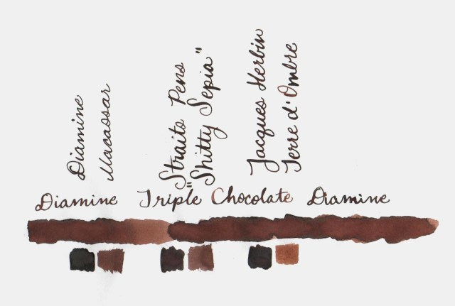 Comparative swatches for Inkvent Day 5 ink Triple Chocolate