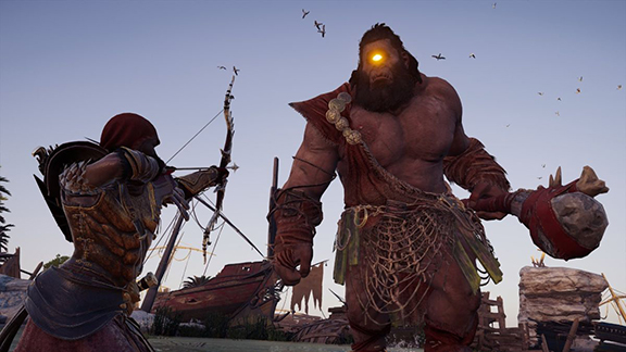 Screenshot from Assassin's Creed Odyssey showing Kassandra aiming at a Cyclops
