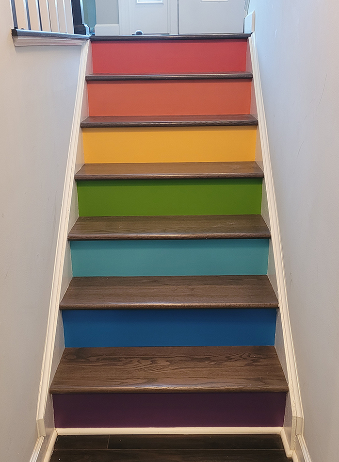 Lower stairs painted