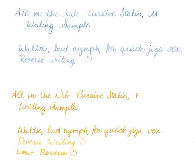 Cursive Italic Nibs writing samples