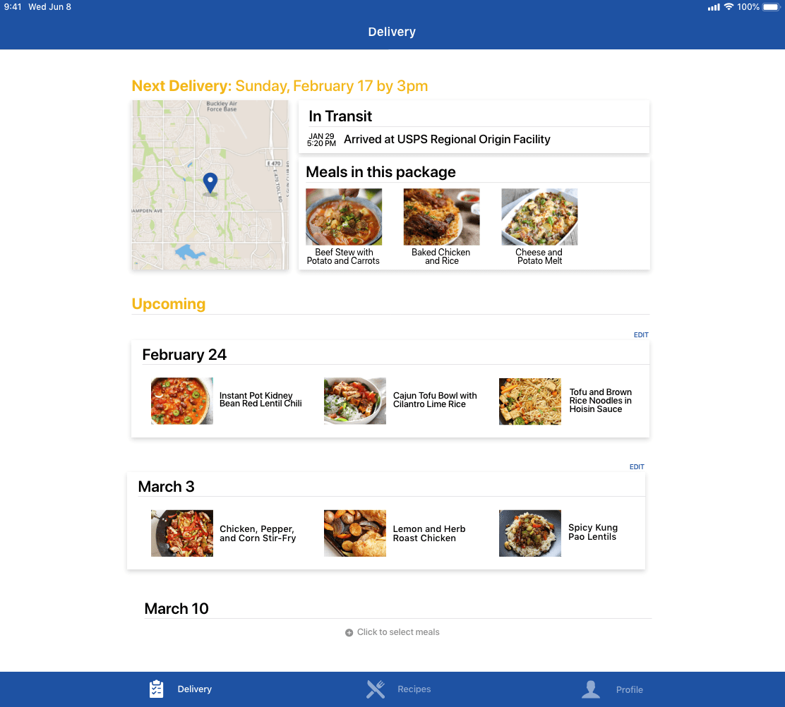 Delivery information and future meal kits in PEAK Pack tablet app