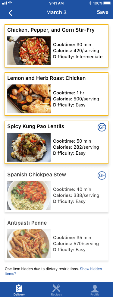 Meal choosing screen for PEAK Pack mobile