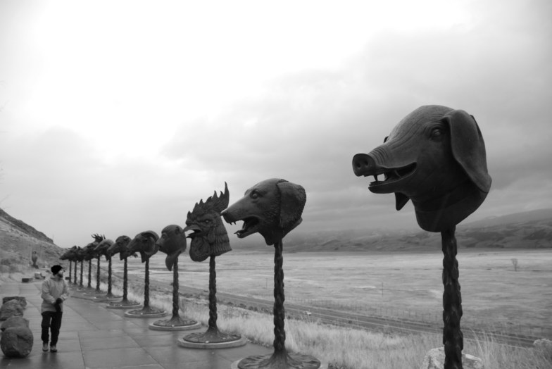 Finally in Jackson | pieces by Ai Weiwei appear outside the National Museum of Wildlife Art.