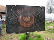 Here 'tis. I freehand plasma cut the steel, then we put hammered copper behind it... encased it, then forged vines. We used mostly salvaged materials!