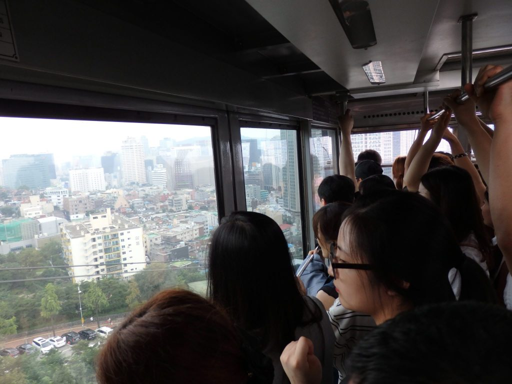 inside the cable car up to Seoul Tower