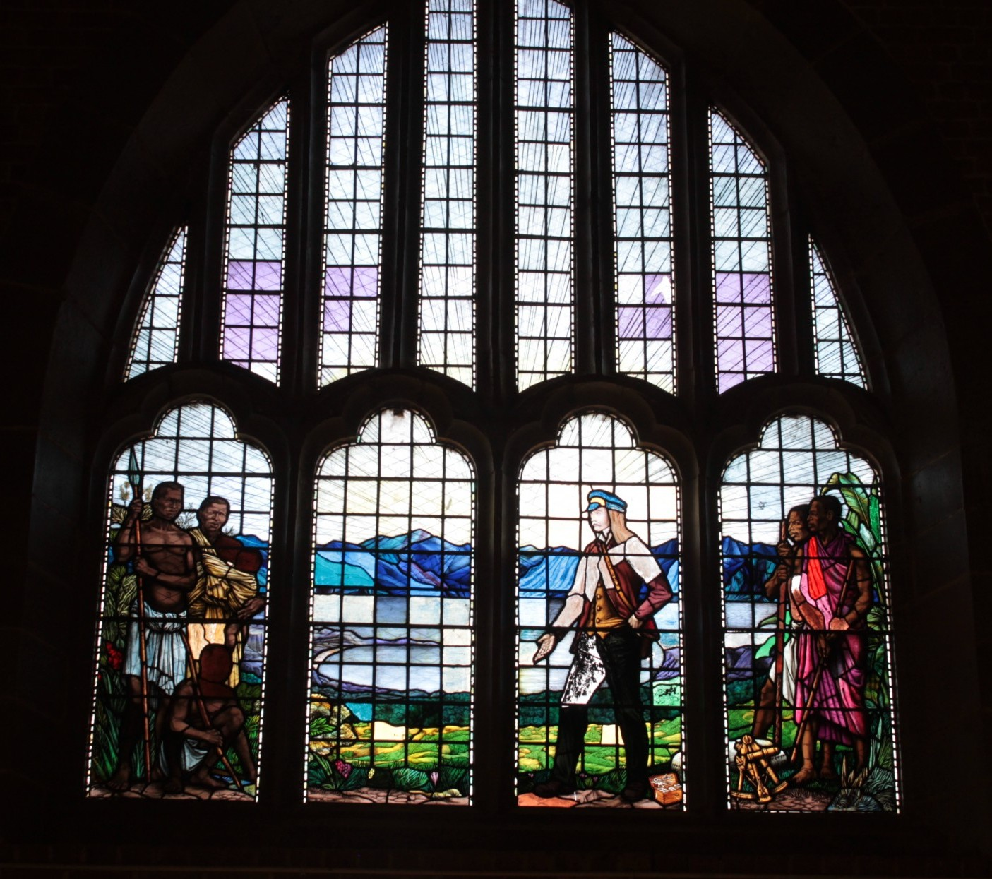 The stained glass window above the entrance to Livingstonia church