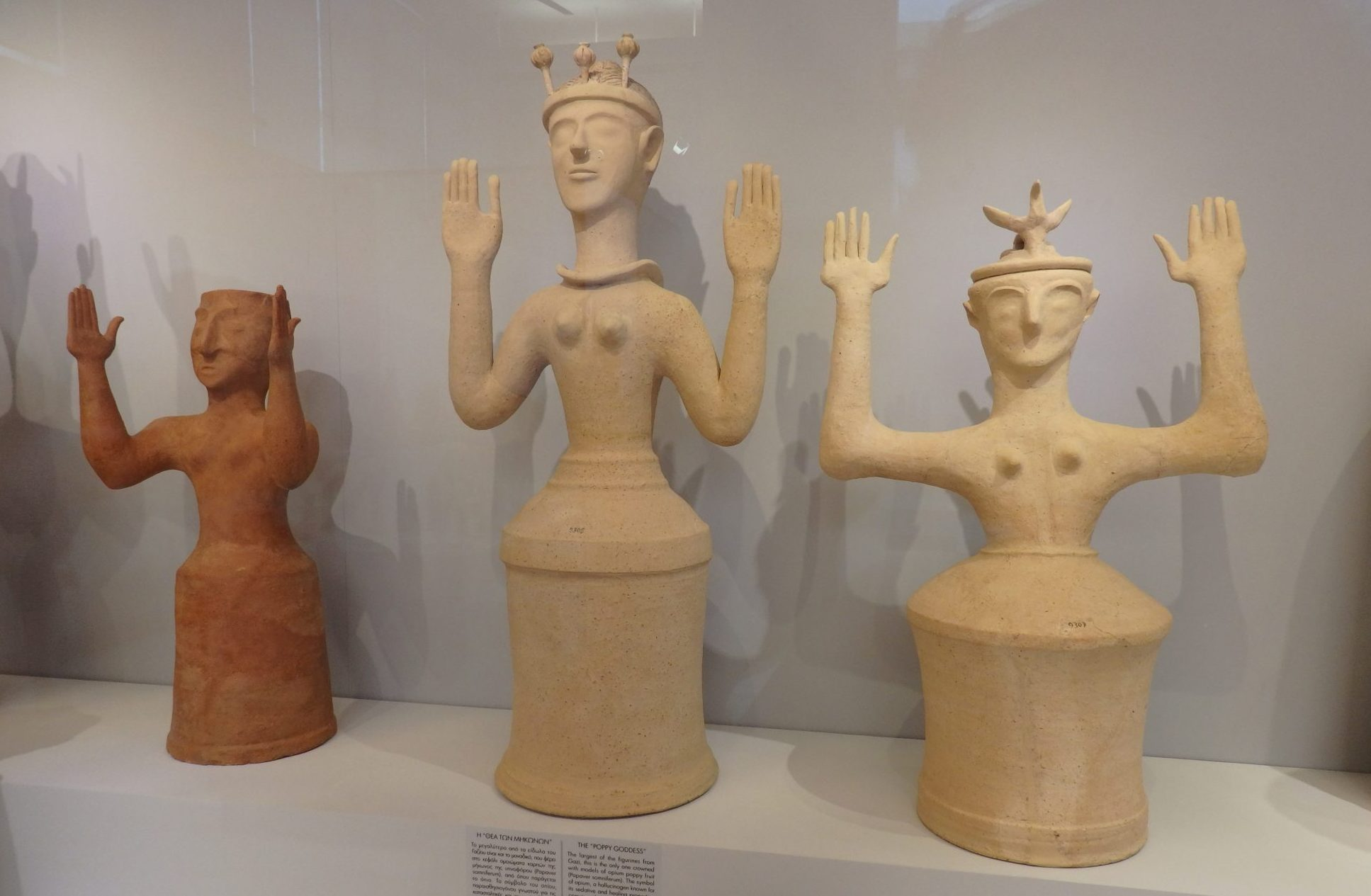 Goddess figurines from 1300-1200 BCE.