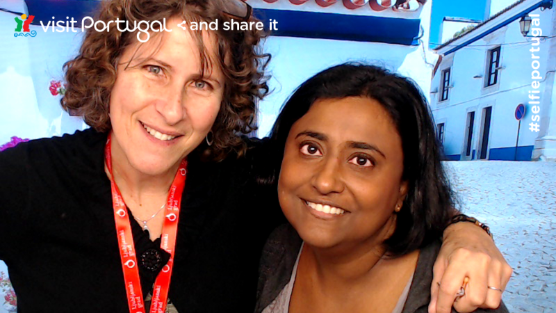 Shobha and me, at the Portugal booth of the World Travel Market a while back: 1001 Travel Tales