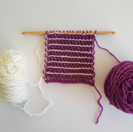 More purple yarn on the other side of the sample.
