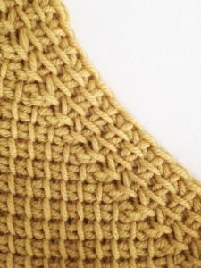 Decrease: 1 twisted up stitch and 1 slip stitch together