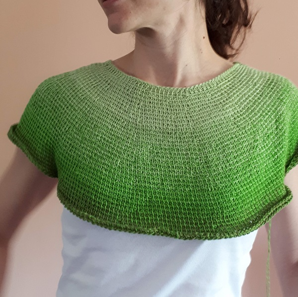 Céleste, my Tunisian crochet top down garment