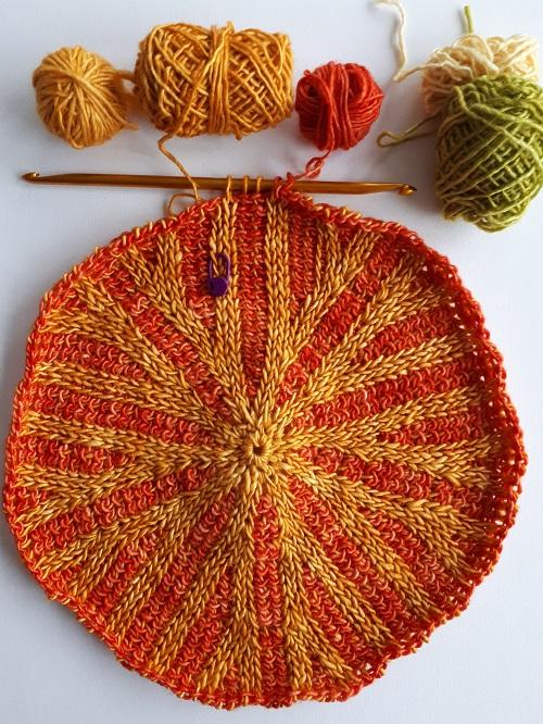 Tunisian crochet beanie Décagone