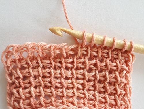 Short forward pass in Tunisian crochet