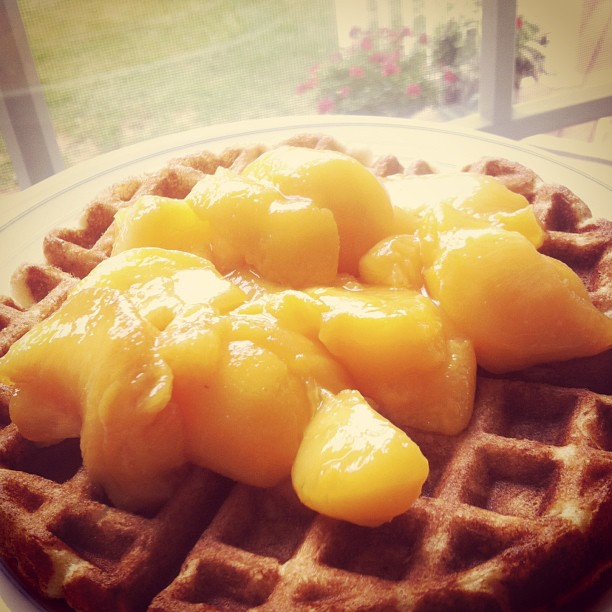 Favorite Breakfast: Waffles with Peaches!