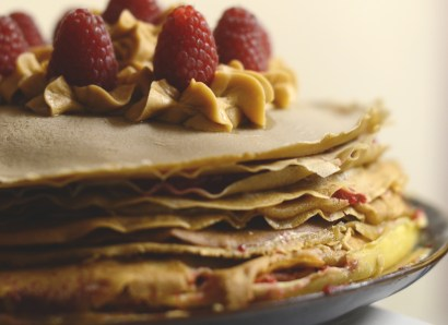Raspberry and Biscoff Buttercream Crepe Cake