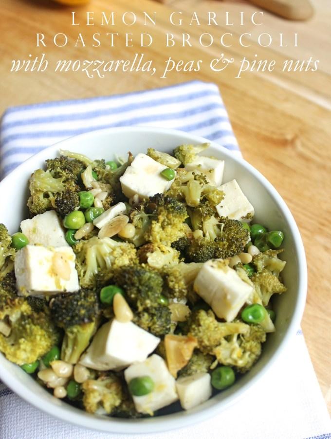 Lemon Garlic Roasted Broccoli with Mozzarella