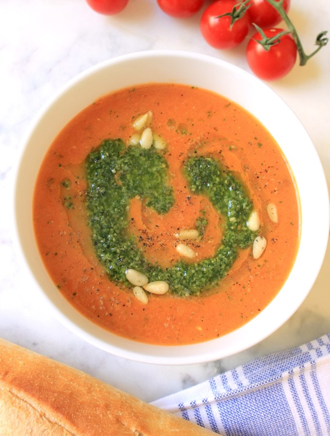 Roasted Tomato Soup Topped with Pesto