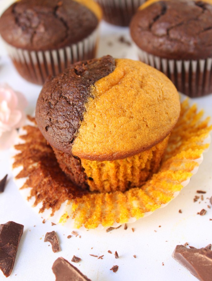 Two-Tone Pumpkin Chocolate Muffins