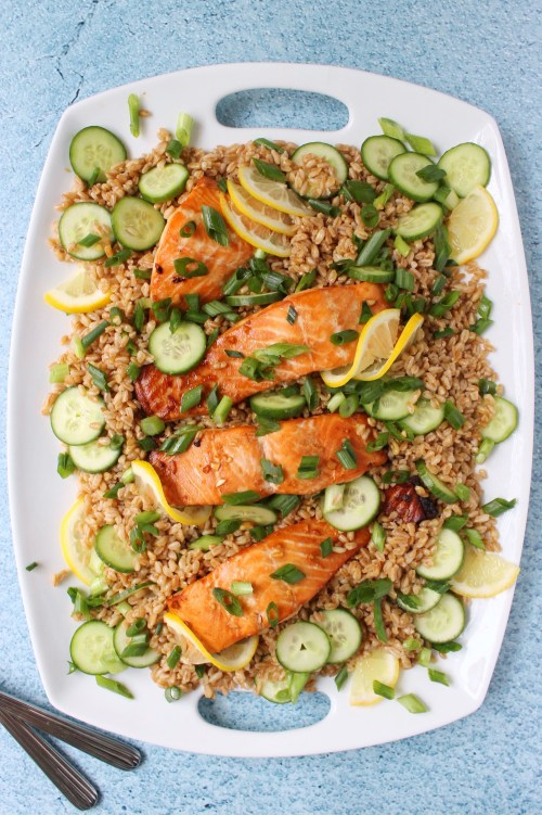 Baked Salmon with Toasted Sesame Farro