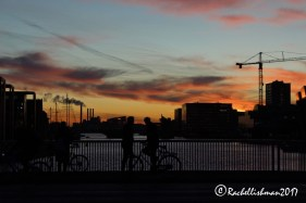 Copenhagen's cyclists are silhouetted against the river, with boats and factories in the background