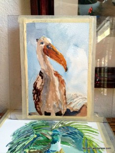 Painting of pelican figurine and shell