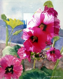 Color photograph of hollyhocks mounted on watercolor paper and painted around