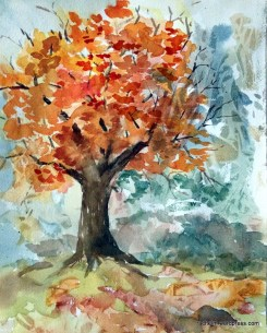 "Day 19. Autumn in progress. 9"" x 12"" watercolor."