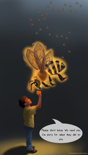 """Bee Spirit"" Digital Media 8"" x 12"" The Bee Spirit stops to say farewell before vanishing forever. Prints available: http://www.redbubble.com/people/rachelmartinart/works/15333596-the-unheard?ref=recent-owner"