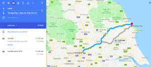 Map - route from Leeds to the village in Exile by Rachel McLean