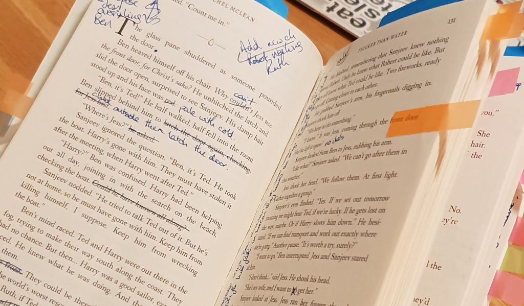 an annotated paperback book
