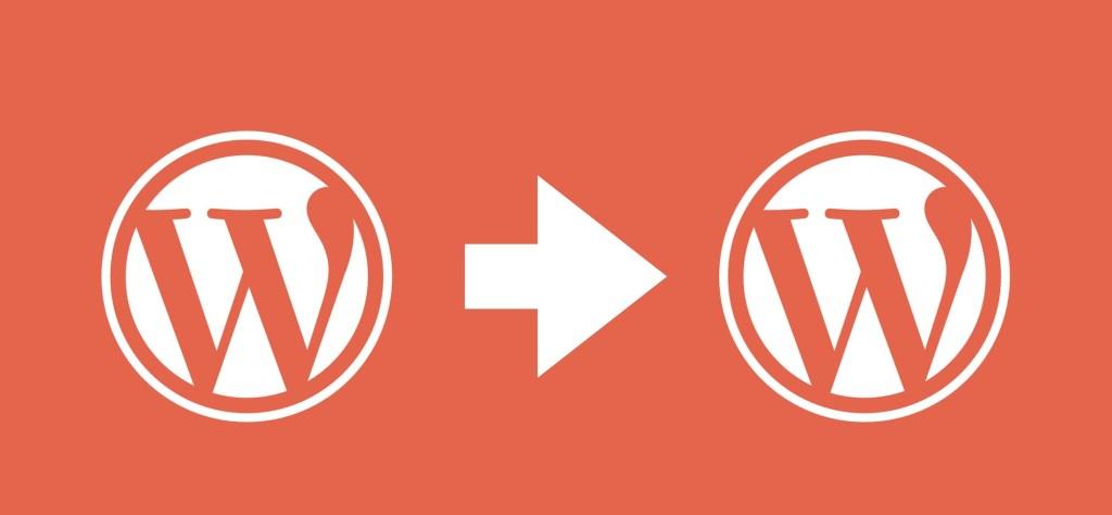 The WordPress logo twice with an arrow between