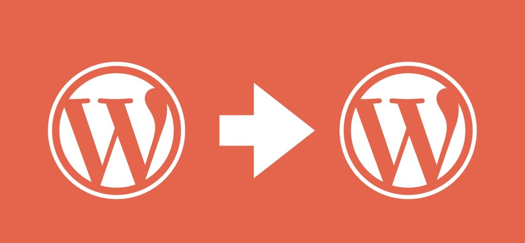 The WordPress logo twice with an arrow between