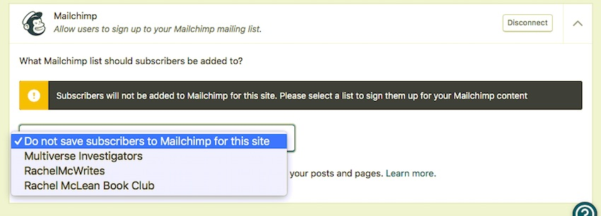 Selecting a mailing list