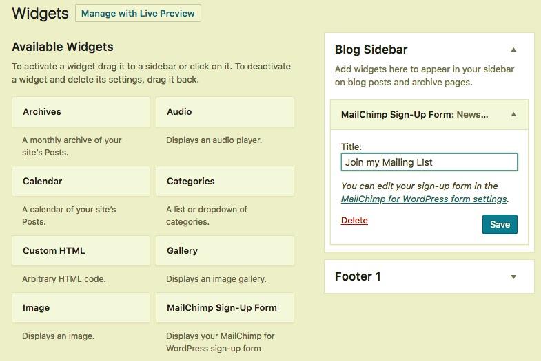 Creating the MailChimp widget