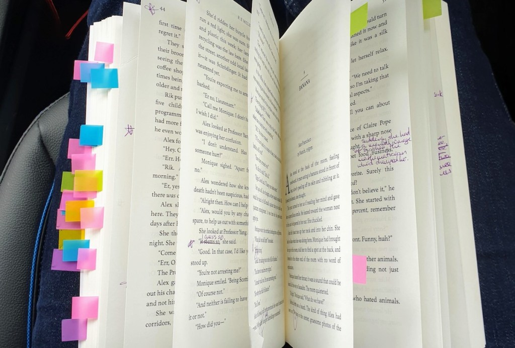 Post its in a proof copy of a novel