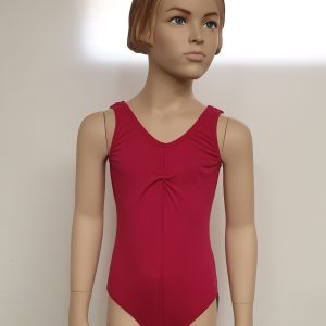 Sleeveless Cherry Red Leotard Front View