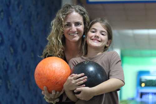 This was an easy and fun one, Girls Scouts bowling day.
