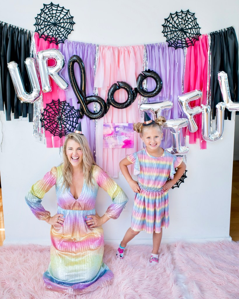 halloween, halloween decor, halloween 2019, halloween decorations, kids halloween party, kids party decorations, colorful halloween party, boo halloween balloon, rainbow halloween, rainbow halloween party, 2019 halloween trend, rainbow dress, rainbow dresses, matching dresses, matching outfits, mommy and me matching dresses