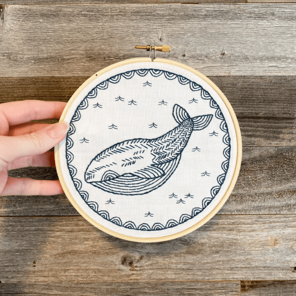 whale embroidery, completed while nurturing myself in grief