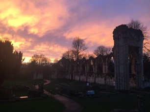 Sunset over the abbey ruins.